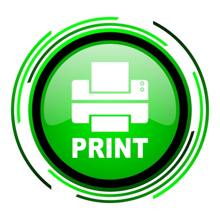 print green circle glossy icon  photo