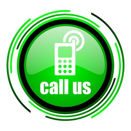 call us green circle glossy icon  photo