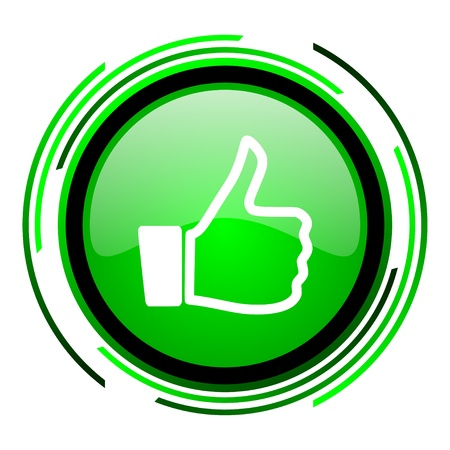 thumb up green circle glossy icon  photo