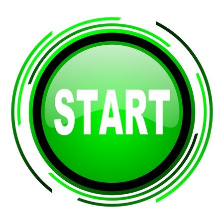 start green circle glossy icon Stock Photo - 20106761