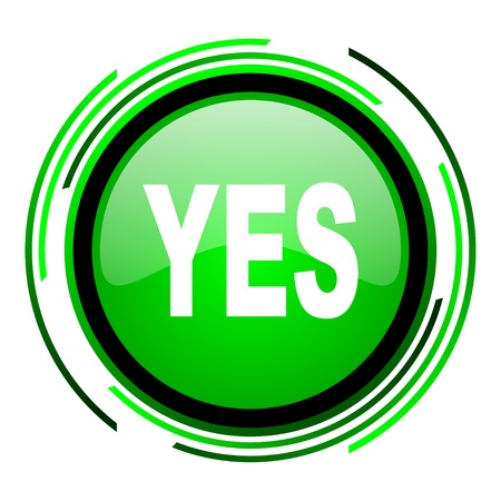 yes green circle glossy icon  photo