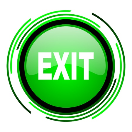 exit green circle glossy icon  Stock Photo