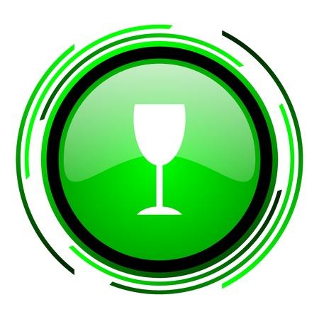 champain: glass green circle glossy icon