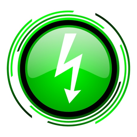 lightning green circle glossy icon  photo