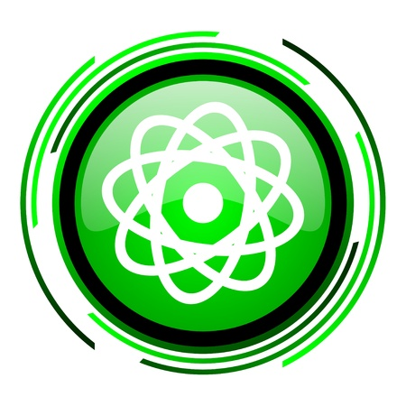 atom green circle glossy icon  photo