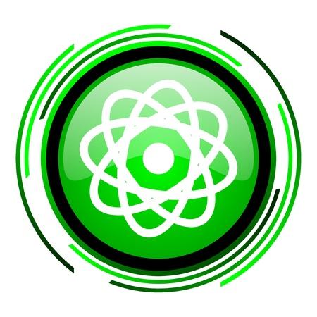 atom green circle glossy icon Stock Photo - 20106825