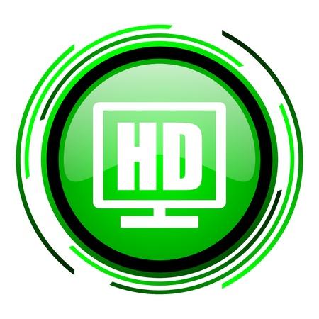 hd display green circle glossy icon  photo