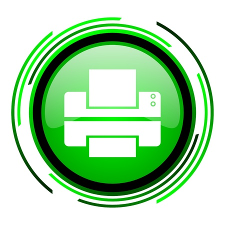 printer green circle glossy icon  photo