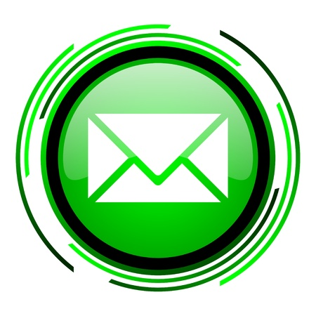 write us: mail green circle glossy icon