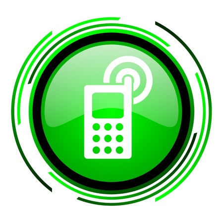 cellphone green circle glossy icon  photo