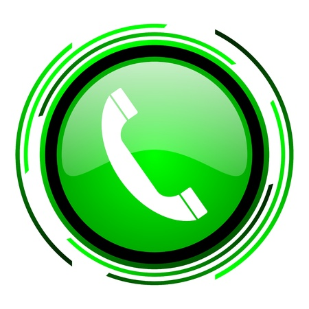 phone green circle glossy icon  photo