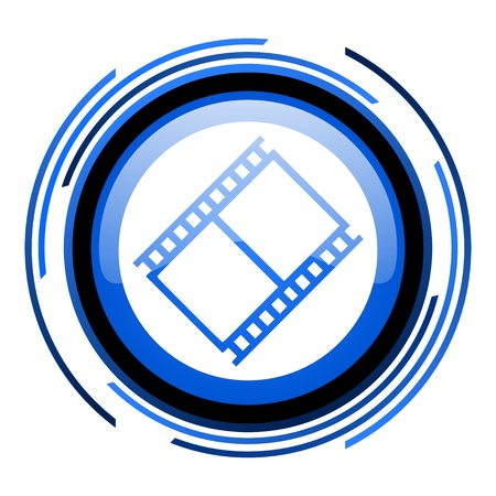 film circle blue glossy icon  photo