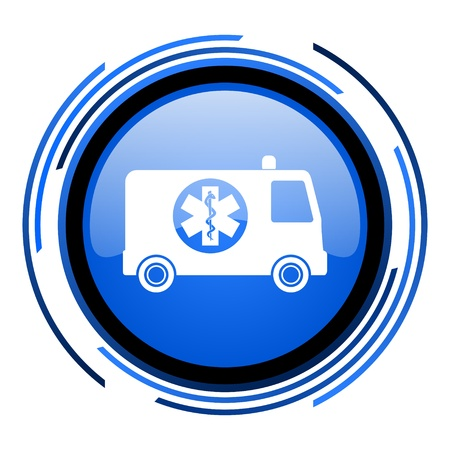 ambulance circle blue glossy icon  photo