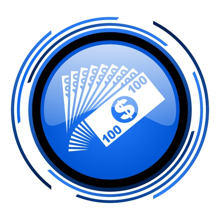 money circle blue glossy icon  photo