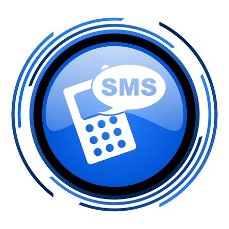 sms circle blue glossy icon  photo