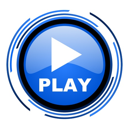 play circle blue glossy icon  photo