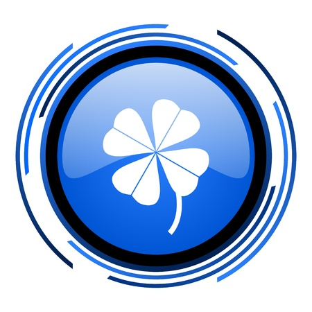 four-leaf clover circle blue glossy icon  photo