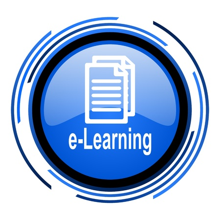 e-learning circle blue glossy icon  photo