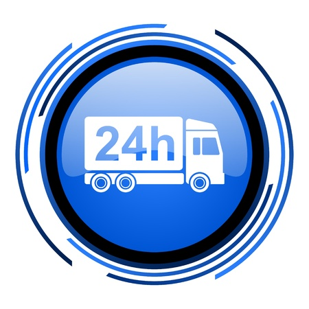 delivery 24h circle blue glossy icon  photo