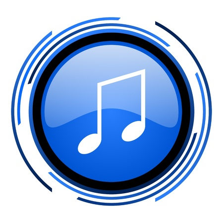 music circle blue glossy icon  photo