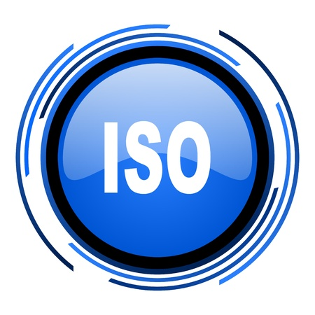 iso circle blue glossy icon  photo