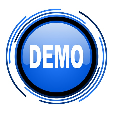demo circle blue glossy icon  photo