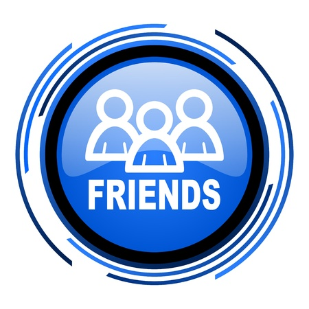 friends circle blue glossy icon  photo