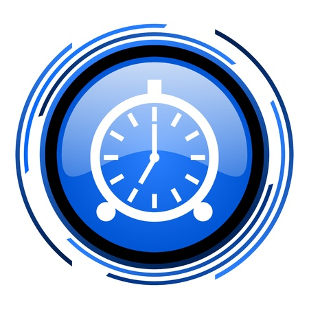 alarm clock circle blue glossy icon  photo