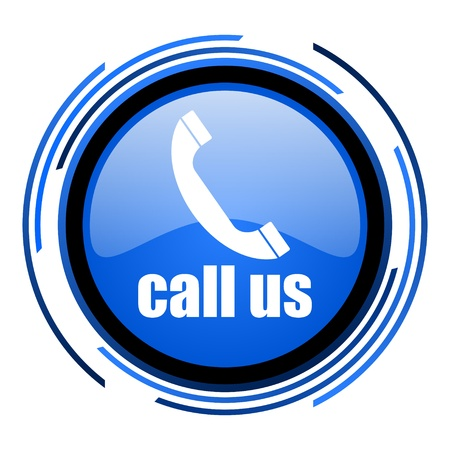 call us circle blue glossy icon  photo