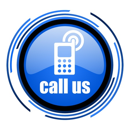 call us circle blue glossy icon Stock Photo - 20205476
