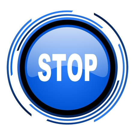 stop circle blue glossy icon Stock Photo - 20205605