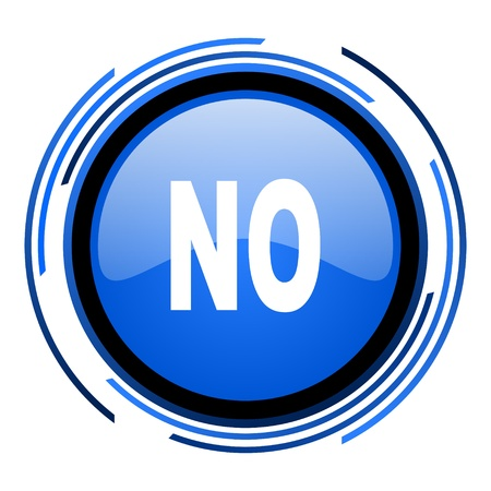 negate: no circle blue glossy icon  Stock Photo