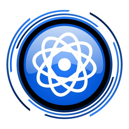atom circle blue glossy icon