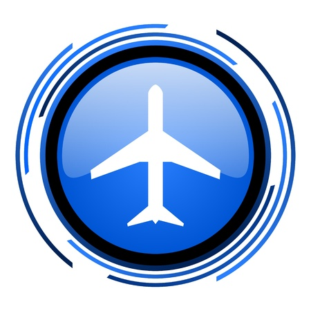 plane circle blue glossy icon Foto de archivo