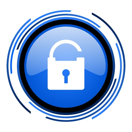 padlock circle blue glossy icon Stock Photo - 20205156