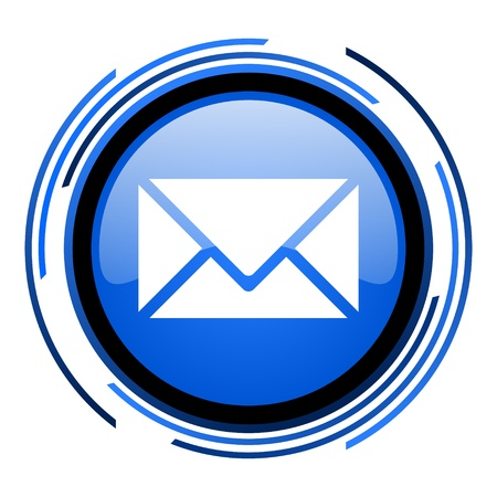 mail circle blue glossy icon