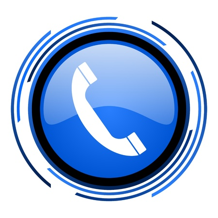 phone circle blue glossy icon  photo