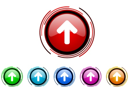 arrow up: arrow up circle web glossy icon colorful set