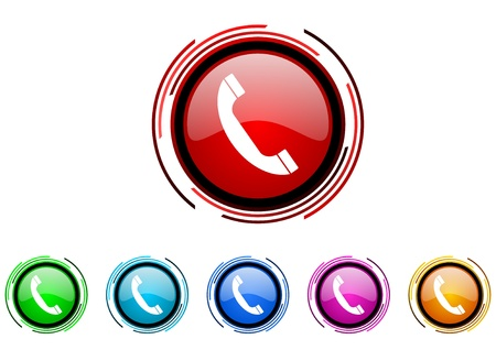 phone circle web glossy icon colorful set Stock Photo - 20207090
