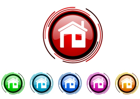 home circle web glossy icon colorful set Stock Photo - 20207088