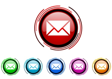 mail circle web glossy icon colorful set Stock Photo - 20207094