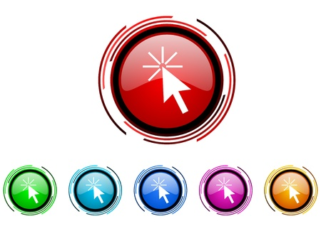 click here circle web glossy icon colorful set  photo