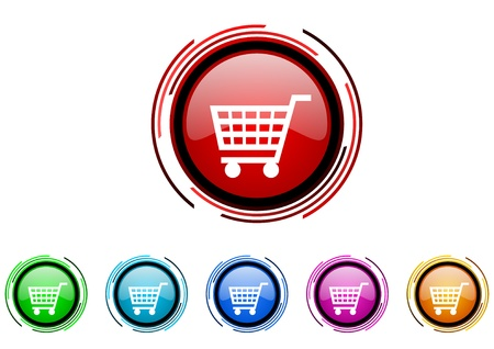 shopping cart circle web glossy icon colorful set  photo