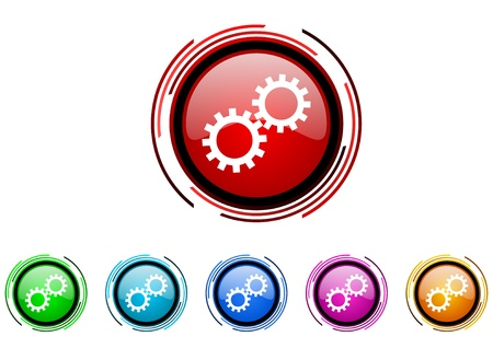 gears circle web glossy icon colorful set  photo