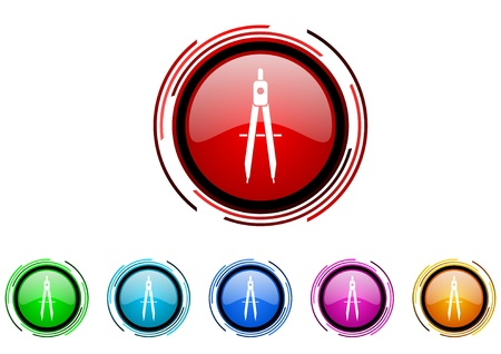 e-learning circle web glossy icon colorful set  photo