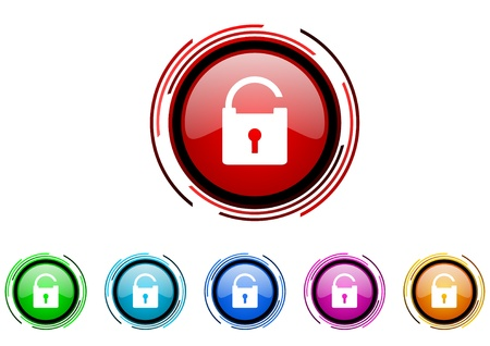 padlock circle web glossy icon colorful set  photo