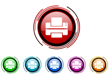 printer circle web glossy icon colorful set  photo