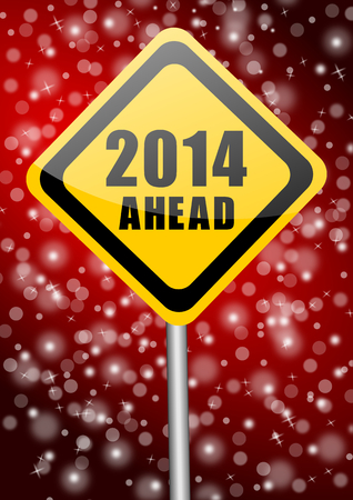 2014 new years illustration with traffic sign illustration