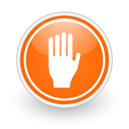 the coachman: orange web button on white background Stock Photo