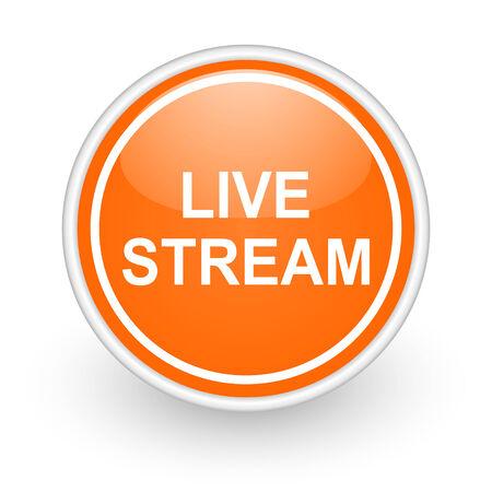 live stream tv: orange web button on white background Stock Photo
